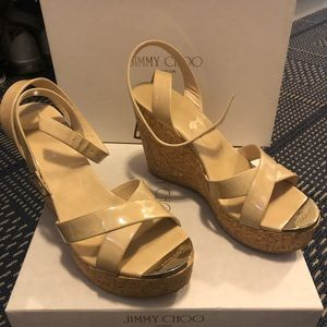 Jimmy Choo Papyrus Nude Patent sandals